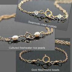Pulsera de Oro infinito, llenada de oro y Vermeil, Infinity pulsera brazalete de perlas.