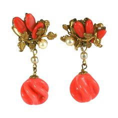 Miriam Haskell Faux Coral Pate de Verre Earclips