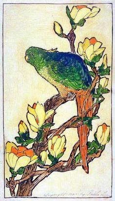 Bertha Lum ~ Woodblock print Parrot, 1922