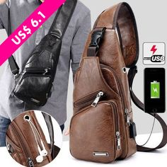 Buy Fashion Men's Leather Bag Chest Pack Crossbody Bags Messenger Bags Vintage Travel Bag Casual Outdoor Shoulder Bags at Wish - Shopping Made Fun Casual Bags, Sport Casual, Wish Shopping, Vintage Travel, Luggage Bags, Travel Bag, Sling Backpack, Leather Men, Shoulder Strap