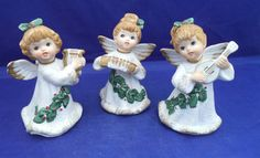 3 Christmas Angel Figurines Homeco 5252 Holly Musical Instruments Singing Sweet in Collectibles, Decorative Collectibles, Decorative Collectible Brands | eBay