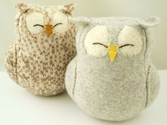 Upcycled Felted Wool Grey Sleepy Owl by formydarling