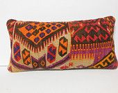 12x24 kilim pillow accent pillow cover decorative throw pillow case toss cushion cover red orange yellow lumbar pillow gift whimsical tribal