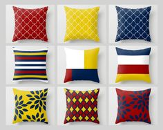 Throw Pillow Covers Navy Mustard Yellow Crimson by HLBhomedesigns