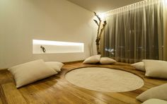 Zen meditation room with sand circle