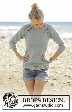 Wind Down jumper with lace raglan worked top down by DROPS Design Free Knitting Pattern