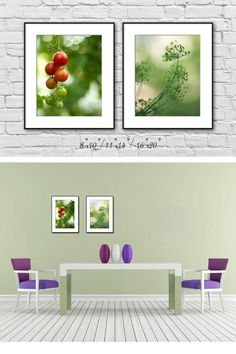 Kitchen Print Set Food Print Set of 2 Photographs Botanical Print Set Green Wall Decor Summer Green Artwork (45.00 USD) by IonAnthosPhotography