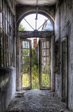 abandoned doors to an abandoned garden