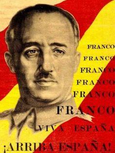 Cartel de Francisco Franco dictador de Espanya durante 40 annos [1936-1976]..Estabecio un sistema de propaganda de culto excesivo a la personalidad del caudillo...