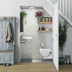 Small Downstairs Toilet, Small Toilet Room, Bathroom Under Stairs, Basement Bathroom, Toilet Under Stairs, Downstairs Cloakroom, Bad Inspiration, Bathroom Inspiration, Bathroom Design Small