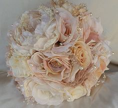 "Vintage Country Chic Bridal Bouquet Custom 11"" Elegant Fabric & Lace Jeweled Wedding Bouquet. This is for the country bride at heart. Simple elegant colors of blush, beige and cream fabric flowers wit"
