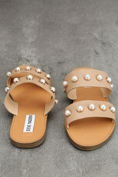 30d809b4dfb Steve Madden Jole Nude Leather Slide Sandals