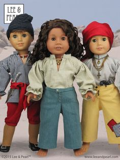 """Ahoy, mateys! Just in time for Halloween, make your own awesome pirate costumes for American Girl dolls and custom boy dolls using Lee & Pearl Pattern #3052: PIRATES, PATRIOTS & PRINCES 18th Century Men's Basics for 18"""" Dolls, available in our Etsy store at https://www.etsy.com/listing/249133160/lp-3052-pirates-patriots-and-princes"""