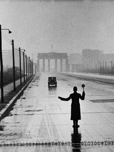 Automobile arriving in East Berlin (back in the old days, before the Wall was built)