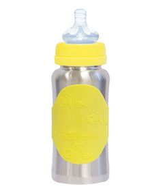Silver & Yellow GroGrow Stainless Steel Baby Bottle