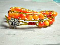 Hey, I found this really awesome Etsy listing at https://www.etsy.com/listing/206339502/doube-wrap-leather-bracelet-tangerine