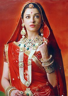 Bridal Outfits by Neeta Lulla. If you have ever wondered the designer behind Aishwarya Rai's gorgeous outfits in Jodha Akbar, its none other than Neeta Aishwarya Rai Jodha Akbar, Jodhaa Akbar, Saris, Beauty And Fashion, Fashion Mode, Indian Dresses, Indian Outfits, Indian Clothes, Pakistani Dresses