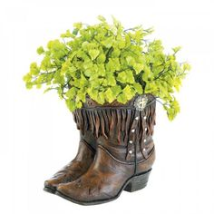 Yeehaw! Country Girl Boot Planter Plant Holder Stand Stays Planted Down Home #SummerfieldTerrace