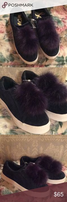 Sam Edelman Navy Blue leather Pom Pom Shoes 9.5 Beautiful Leather Suede Sneakers by Sam Edelman  New, no box Slip on style sneaker is comfortable and stylish with a double Pom Pom on each shoe Size 9.5 Sam Edelman Shoes Sneakers