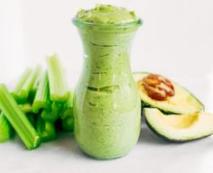 Whole30 ranch dressing made with avocados instead of oil! Easy five minute ranch dressing. This dairy free ranch dressing can be used as a dip or spread.