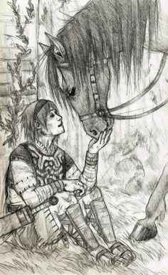 An old pencil sketch of Wander and Agro from Shadow of the Colossus Wander and Agro Ghost Drawing, Video Game Art, Anime, Fauna, Life Drawing, Art Techniques, Character Inspiration, Wander, Fantasy Art