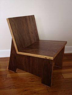 MiniMod Modern walnut veneer plywood children's chair by PlyWorx, $100.00