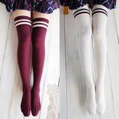 Striped Thigh High Socks, Knee High Socks, Over Knee Socks, Striped Tights, Dame, Outfit Invierno, Moda Paris, Ladies Dress Design, Thigh Highs