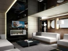 Now this is a nice yacht! Wow is that a fire place?