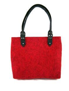 FELT BAG / chest / in hand / in shoulder / Grey, antrhracite, black, red melange classic bag