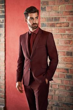 Mens Fashion | Menswear | Men's Apparel | Burgundy Men's Suit | Men's Outfit for Fall/Winter | Sophisticated Style | Moda Masculina | Shop at designerclothingfans.com