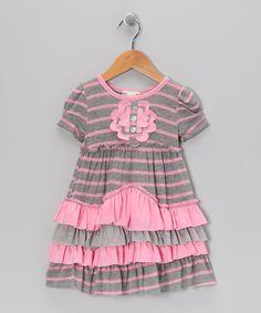 Gray & Pink Stripe Daisy Tiered Ruffle Dress - Girls $28.85