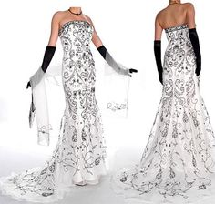 black and whit prom dress