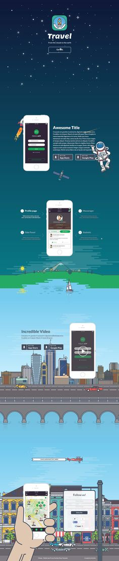 Travel - Mobile App Promo Parallax Muse Template by kotulsky #webdesign