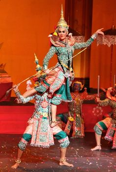 Thai Classical Drama Dance, Khon. This type of dance developed in 17th century as a hybrid of Hindu military rituals and Thai martial arts. Khon focuses on the Ramakian epic, a version of the Ramayana story telling of Rama, an avartar of the Hindu God Vishnu and his wife Sita who is abducted by the demon king Ravana