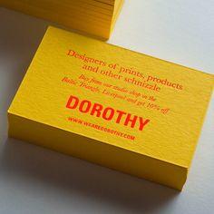 Business cards for Dorothy printed by Jot Paper Co. - fluorescent orange foil onto Colorplan Factory Yellow, Foil Business Cards, Unique Business Cards, Material Design, Packaging Design, Branding Design, Branding Ideas, Name Card Design, Marca Personal, Badge Design