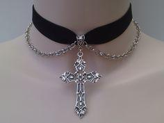 Large Silver Gothic CROSS & CHAIN Velvet BLACK by TwirlyTrinkets, £4.09