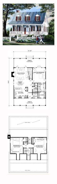 Cottage Style COOL House Plan ID: chp-49672 | Total Living Area: 1740 sq. ft., 3 bedrooms and 2.5 bathrooms. #cottagehome