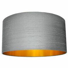 Silk Dupion Lampshades In Ash Grey