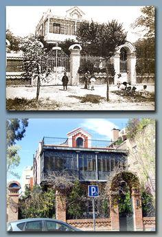 Villa Sotera- Casa situada en la calle Vizconde de los asilos, 5. La foto antigua es de 1918 y la actual de 2008.