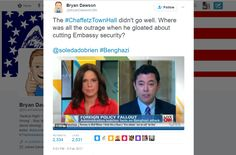 Bryan Dawson @BryanDawsonUSA   The #ChaffetzTownHall didn't go well. Where was all the outrage when he gloated about cutting Embassy security?  @soledadobrien #Benghazi