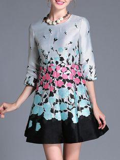 Shop Mini Dresses - Gray Floral Jacquard Elegant Mini Dress online. Discover unique designers fashion at StyleWe.com.
