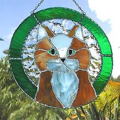 """Golden Brown Kitten Suncatcher w/ Green Border - 8 1/2"""" - $35.95  - Handcrafted Stained Glass Designs  - Handcrafted Stained Glass Designs  - Glass Suncatchers, Stained Glass Décor, Stained Glass Sun Catchers -  Stained Glass Design   * More at www.AccentOnGlass.com"""