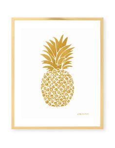 Gold Pineapple Print #prettychicsf #barcart
