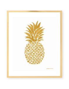 Gold Pineapple Print #prettychicsf #barcart