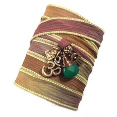 Om Silk Wrap Bracelet with Emerald Jade