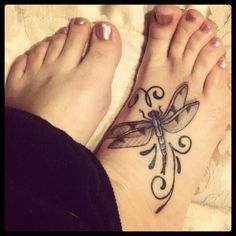 #Dragonfly #Foot #Tattoo Dragonfly foot tattoo