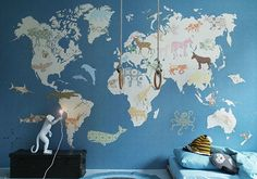 Kids World Map Mural - 2 Sizes and colours Bedroom Wallpaper World Map, Boys Room Wallpaper, Of Wallpaper, Amazing Wallpaper, World Map Mural, Kids World Map, World Map Design, Inspiration For Kids, Baby Boy Rooms