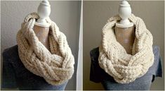 This is a free pattern offered by Michelle Greenberg on her blog for how to make this braided, infinity scarf!