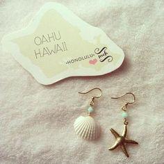 ヒトデチャームとシェルのピアス Mermaid Creation Hawaii