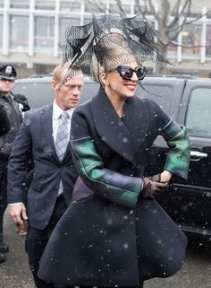 f91b9379ae66 Lady Gaga in Linda Farrow x Prabal Gurungsunglasses spotted at Harvard for  the launch of her